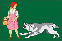 LITTLE RED RIDING HOOD AND GRAY WOLF. Image of fairy-tale characters Little Red Riding Hood and gray wolf on a dark green background Stock Photos