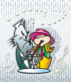 Little Red Riding Hood and Gray Wolf. Two girls in a red hat and a gray wolf in a suit drink through straws from a glass of a vessel Stock Photos