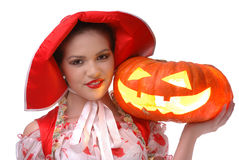The Little Red Riding Hood with Halloween pumpkin Stock Image