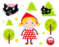 Little Red Riding Hood icon collection. Red riding hood and wolf tale icons isolated on white. Vector cartoon illustration Royalty Free Stock Photos