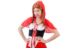 Little red riding hood isolated on white Royalty Free Stock Photography