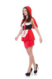 Little red riding hood isolated on white Royalty Free Stock Photos