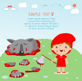 Little Red Riding Hood Kills The Wolf , Little red riding hood and wolf, Little Red Riding Hood Stock Photography