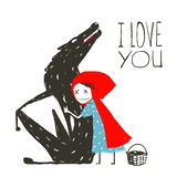 Little Red Riding Hood Loves Black Wolf Royalty Free Stock Photos