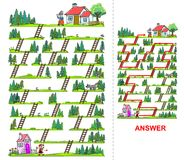 Little Red Riding Hood maze for kids Stock Photos