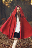 Little Red riding hood posing in the forest. With flying cloak Royalty Free Stock Photos