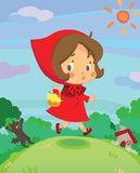 Little red riding hood on run in a little dreamy w vector illustration
