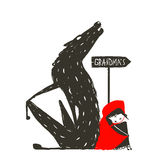 Little Red Riding Hood and Scary Wolf Stock Photography