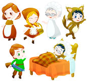 Little red riding hood set. Little red riding hood characters set. clipping path included Stock Image