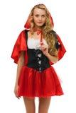 Little Red Riding Hood shape. Beautiful woman in carnival costume.   Little Red Riding Hood shape. Isolated image Royalty Free Stock Image