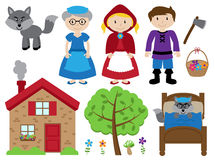 Little Red Riding Hood Themed Vector Collection Stock Photography
