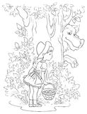 Little Red Riding Hood and Wolf. Colouring page. Children fairy tale  illustration. Outlined version Royalty Free Stock Photography