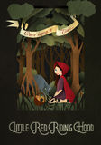 Little Red Riding Hood and wolf in front of forest Stock Photo