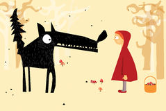 Little Red Riding Hood. Red Riding Hood and wolf in the woods stock illustration