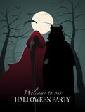 Little red riding hood and wolf in the woods. Invitation to a Halloween Party vector illustration