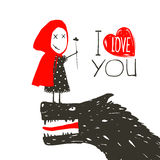 Little Red Riding Presenting Flower to Black Wolf Stock Images