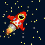 Little red rocket ship flying in the universe royalty free illustration