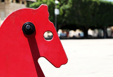 Little red rocking horse, detail Stock Photography