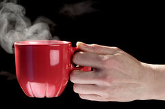 Little red tea cup in woman hand Royalty Free Stock Photo