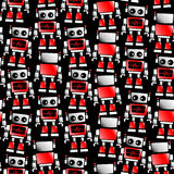 Little red and white robot seamless pattern Stock Photos