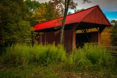 Free Little Red Wooden Covered Bridge Spanning Sterling Brook Stock Image - 168041771