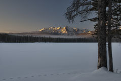 Little Redfish Lake Winter sunrise Royalty Free Stock Image