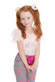 Little redhead fashionista in a  jeans Royalty Free Stock Photo