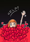 Little redhead girl drowning in a sea of hearts. Asking for help. Hand raised up. Hand drawn illustration digitally colored Stock Photo