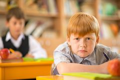 Little redhead schoolboy Royalty Free Stock Photos