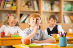 Little redhead schoolboy during lesson Stock Images