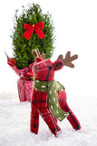 Little reindeer stuffed animal Christmas decoration Royalty Free Stock Images