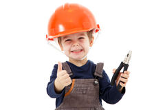 Little repairman in hardhat with pliers show thumb up on white Royalty Free Stock Photo