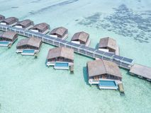 Club med finolhu island in maldives. Little resort with big water villas and a amazing view royalty free stock image
