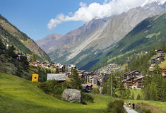 Little resort town in the Swiss Alps Royalty Free Stock Photo