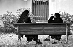 A little rest from the nuns stock images