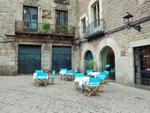 Little restaurant on an historic place in Europe Stock Photos