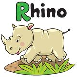 Little rhino for ABC. Alphabet R. Children vector illustration of little funny rhino, running down the road. Alphabet R Royalty Free Stock Photo