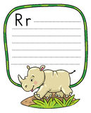 Little rhino for ABC. Alphabet R. Children vector illustration of little funny rhino, running down the road. Alphabet R. Including frame with dotted lines and Royalty Free Stock Photo