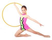 Little rhythmic gymnast. With hoop stock photo
