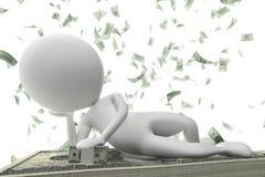 Little rich man businessman. On dollar bills with white background Royalty Free Illustration