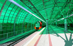 Little Ring of the Moscow Railways- MCC,or MK MZD, is a 54.4-kilometre-long orbital railway.Russia.Delovoy Tsentr  railway station Stock Image