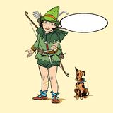 Little Robin Hood and a dog. Boy and his dog. Robin Hood childhood. Child Robin Hood. Medieval legends. Heroes of Royalty Free Stock Images
