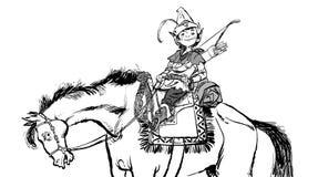 Little Robin Hood on a horse. Robin Hood childhood. Child Robin Hood. Medieval legends. Heroes of medieval legends. Royalty Free Stock Image