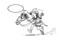 Little Robin Hood riding toy horse. Robin Hood childhood. Child Robin Hood. Medieval legends. Heroes of medieval legends Royalty Free Stock Images