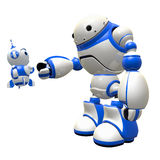 Little Robot and Big Android Making Friends Royalty Free Stock Photo
