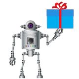 Little robot, electronic, computer device. Stock Images