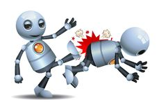 Little robot fired employer on isolated white background. Illustration of a happy droid little robot fired employer on isolated white background royalty free illustration
