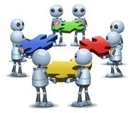 Little robot group try to connecting puzzle. Illustration of a happy droid little robot group try to connecting puzzle on isolated white background royalty free illustration