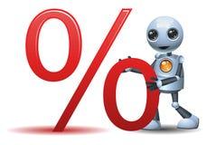 Little robot hold percent symbol. Illustration of a happy droid little robot hold percent symbol on isolated white background stock illustration