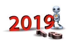 Little robot hold 2019 symbol royalty free illustration